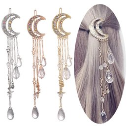 clip beads for hair Australia - Moon Crystal Rhinestone Crystal Tassel Hairpins Beads Dangle Barrettes Fashion Accessories Hair Clip for Women Bridal Jewelry