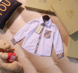 $enCountryForm.capitalKeyWord NZ - Children's shirts kids designer clothes classic autumn boys and girls pure white shirt plaid pattern stitching boys and girls lapel shirt