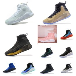 Cheap UA Women Stephen Curry 4 high tops basketball shoes White Black Gold  MVP Championship kids Girl Boys Currys IV sneakers boots for sale eeefb68443