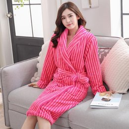 Autumn Winter Women Sleepwear Robes 2018 Flannel Thick Kimono Long Sleeve Home  Wear Bathrobes Nightgown Sexy Warm Women s Robes 87bc2e33a