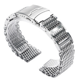 silver safety NZ - 20 22 24mm Silver Black Stainless Steel Shark Mesh Solid Link Wrist Watch Band Replacement Strap