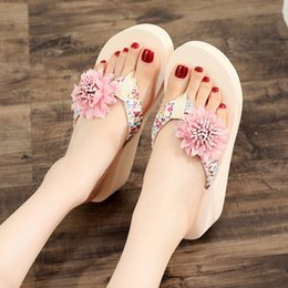 flat fabric shoes wholesale UK - 6 Cm High Heel Women's Summer New Flip Flops Trend Flip Flops Vacation Seaside Floral Shoes Comfortable Leisure Shoe