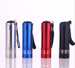 Wholesale Aluminum Alloy Portable Flashlight 9 LED 30LM Torch Light Lamp Mini Flashlights outdoor camping hiking torch lamps