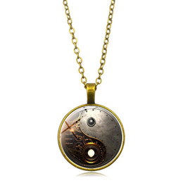 steampunk vintage necklace UK - Vintage Style For Women Men Necklaces Gift Steampunk Chinese yin-yang Time Crystal Necklace Pendant Drop Shipping