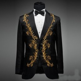 Beige Slim Suits For Men Australia - Black With Embroidery Wedding Groom Mens Suits 2 Pieces Groomsmen Prom Custom Tuxedos Slim Fit Suits For Men (Jacket+Pant+Tie)