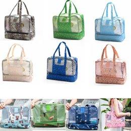Bathe milk online shopping - Beach Swimming Bag Dry Wet Separate handbags Women Waterproof Handbag Flamingo Storage Bag Bathing Wash Bags Outdoor Packs GGA1667