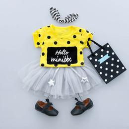 Cute Babies Casuals NZ - Summer Brands Girl Clothing Sets cute letter Dot T-shirt+ dress Girls Casual Children Sets baby girl clothes