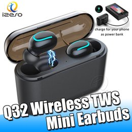 Bluetooth 5.0 Wireless Earphones Q32 TWS Earbuds Sport Mini Headphones with 1500mAh Charger Powerbank Headset for All Phones with Retail Box