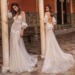 Sexy Unique Red Wedding Dresses Australia - Berta 2019 Bohemian Wedding Dresses Backless Illusion Long Sleeve Tulle Applique Beads Sexy Bridal Gowns Unique Beach Mermaid Wedding Dress
