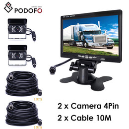 "bus rear view camera NZ - Podofo 7"" Car TFT LCD Rear View Display Monitor Waterproof 4pin IR Night Vision Reversing Backup Rear View Camera for Bus + 10*2 meters wire"