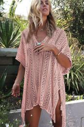 Wholesale women sun dresses resale online – Designer Summer Swimwear Cover Up Women Tunic Beach Sun Protection Knitted Dress Clothing Bathing Suit Bikini Blouse Swimming Beach Wear