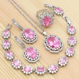 Pendants Sets Australia - 925 Sterling Silver Bridal Jewelry Sets For Women Wedding Pink Cubic Zirconia Ring Bracelet Necklace Pendant Earrings Sets