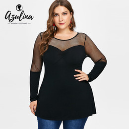 Panel T Shirt Australia - Rosegal Plus Size Fishnet Panel Tunic Tee Women T-shirt Autumn O Neck Long Sleeve T Ladies Tops Casual Shirt Tees Clothing Q190524