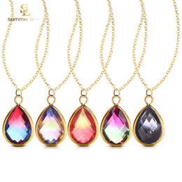 $enCountryForm.capitalKeyWord Australia - Colorful Gradient Teardrop Glass Pendant Necklace for Women New Arrival Gold Plating Adjusable Fashion Waterdrop Necklace Jewelry Gift