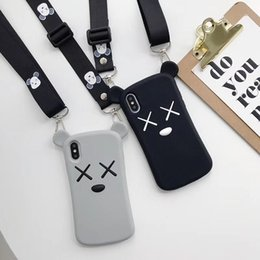 3d Rubber Case Australia - Kaws tpu rubber silicone case for iphone X XR XS MAX 6 7 6S 8 Plus 3D cellphone case with lanyard strap