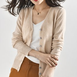 ladies cashmere jackets Australia - Women Jackets 100% Cashmere and Wool Knitting Cardigans Ladies V-neck Soft Sweaters Cardigan Woman Clothes High-end Tops SH190928