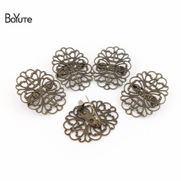 Flower Brooch Black Gold Australia - Accessories Jewelry Findings Components BoYuTe 20Pcs Filigree Flower Brooch Base Vintage Style Antique Bronze Plated Diy Hand Made Brooch...