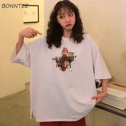 Vente en gros T-shirts Femmes Moitié O-cou Eté 2019 Nouvelle Mode Femmes Simple Tous Les Matchs Respirant Style Coréen Quotidien Vente Chaude Lâche Belle