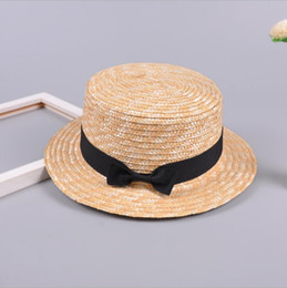 9825044f5c0cd Girls Straw Bowknot Beach Hat cute Sunshade Gangster Cap casual hat  colorful types outdoor travel Female Ribbon Round Flat Top QQA371