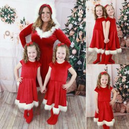 $enCountryForm.capitalKeyWord NZ - Girls Womens Christmas Red Swing Dress Mother & Daughter Santa Dress Party Dress Hot New drop shipping designer clothes