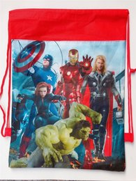 $enCountryForm.capitalKeyWord UK - Non-woven Drawstring Bags Kids Cartoon Print Pouch The Avengers Alliance Child Double-side School Backpack Boys Girls Gifts C81904