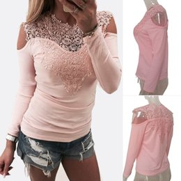 Off Shoulder Blouse Cotton Australia - Women Vintage Lace Blouses Lacework V-Neck T-Shirts Off Shoulder Long Sleeve Slim Cotton Tops Sexy Girls Clothing Hollow out Bottoming Shirt