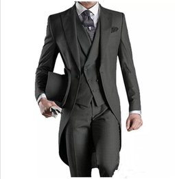 White Tailcoat Style Groom Tuxedos NZ - Custom Made Groom Tuxedos Groomsmen Morning Style Best man Peak Lapel Groomsman Tailcoat Men's Wedding Suits (Jacket+Pants+Vest)