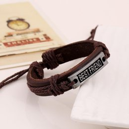 Wholesale Best friend Genuine Leather Letter Charm Bracelet Cuff Braided Wrap Bracelet Bangles Fashion For Women Men Gifts