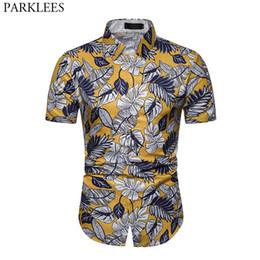 849c6c057 Stylish Leaves Print Hawaiian Beach Shirt Men 2019 Summer New Short Sleeve Aloha  Shirts Casual Holiday Party Camisa Hawaiana 3XL