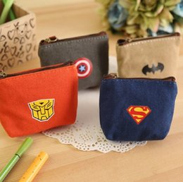 Cartoon Bats Australia - Canvas Purse Boy Captain America Bat Super Hero Wallet Cartoon Cion Purses Bag Kids Key Bags GGA2018