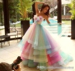 $enCountryForm.capitalKeyWord UK - 2019 Charming Colorful Rainbow Prom Dresses A Line Sweetheart Off Shoulder Prom Gowns Lace Up Back Soft Tulle Bridal Dresses Cheap Evening