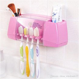 Kitchen Storage Box Set Australia - Free Shipping Multifunctional Toothbrush Racket Holder Storage Box Bathroom Makeup Accessories Products Sets Suction Hooks Kitchen Holder