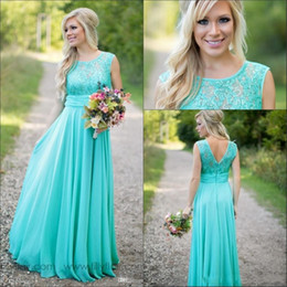 Line bateau chiffon Lace online shopping - 2019 New Teal Country Bridesmaid Dresses Scoop A Line Chiffon Lace V Backless Long Cheap Bridesmaids Dresses for Wedding BA1513