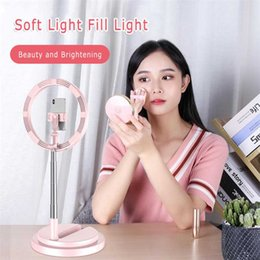 Discount selfie tripod stand Selfie Fill Light Desktop LED Ring Light For Selfie Lamp Tripod Stand USB Plug For YouTube Tik Tok Live Photography Stud