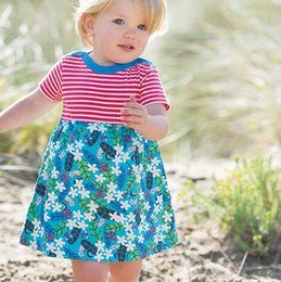 China Kids Girls Dresses Australia - American Summer dresses for girls 2-7years christmas costumes for kids Short sleeve striped girl clothes dresses baby clothing Made In China