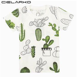 Design Children Shirt Australia - Cielarko Boys T-shirt Kids Basic T Cartoon Cactus Top Tees Children Sport Clothing Baby Boy Design Shirts For 3-8 Years Q190528