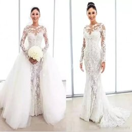 Luxury Modern Dubai Dresses NZ - Modern Wedding Dresses With Detachable Skirt 2019 Luxury Beaded Pearls Long Sleeve Mermaid Dubai Arabic Bridal Wedding Gowns