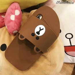 korean leather slippers NZ - Mytoto Cute 3D Korean Bear Rabbit Duck Slippers Phone Case For iPhone X XS MAX XR 6 6s 7 8 Plus For Soft Silicone Back Cover Cases