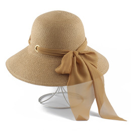 women bow hats Australia - 2019 New Summer Hats Women Sun Visor Cap Handmade Bow Straw Foldable Panama Hat Big Wide Brim Beach Hat