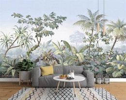 banana paper NZ - Custom wallpaper 3D mural photo European-style hand-painted garden wood rainforest banana palm tree retro mural