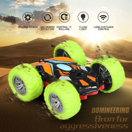 buggy rc car nitro UK - Double Sided 3D Flip Remote Control Car Robot RC Car Toy Drift-Buggy Crawler Battery Operated Stunt Machine Radio Controlled Car MX200414