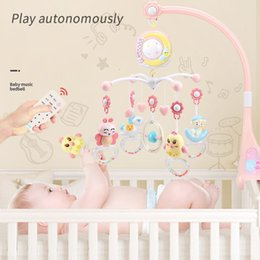 baby rattles Australia - Kawaii Animal Rattles Musical Crib Mobile Bed Bell With Music Box Projector 0-12 Months Baby Educational Toys#G5 T200429
