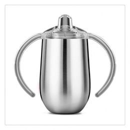 Ingrosso Bicchiere da 10 once tazza in acciaio inossidabile con coppa per acqua Sippy Bicchiere da 10 once con manici Sono disponibili vari colori
