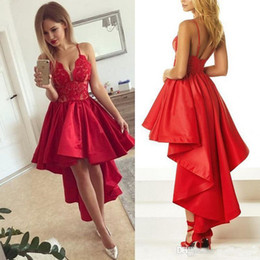 Discount formal dresses spaghetti straps - 2019 Hi-Lo Cocktail Dress Sexy Spaghetti-Strap Satin Short Front Long Back Prom Dress Cheap Formal Party Dresses Custom