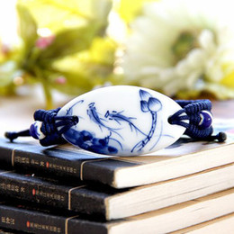 Lotus porceLain online shopping - Pure Hand painted Blue and White Porcelain Bracelet Hand woven Lotus Vintage Hand made Ceramic Jewelry