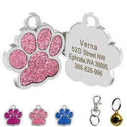 Discount dog collar and tag Drop shipping Shape Dog ID Tag Engraved Dog ID Name Tags Pet Collar Pendant Free Engrave Name and Phone Number