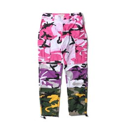 cotton casual lightweight trousers men UK - Camo Patchwork Cargo Pants Men Baggy Trousers Hip Hop Casual Multi Pocket Pant Camouflage Streetwear Size S-2XL
