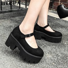 high heeled mary jane shoes UK - HTUUA 2019 Autumn Women Pumps Mary Jane Thick Platform Shoes Woman Black Casual Round Toe Ankle Buckle High Heels SX3180 Y200702