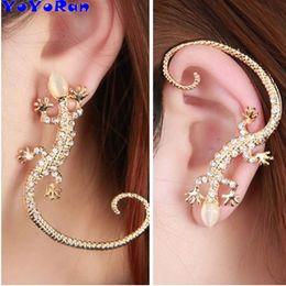 Lizard Stud Earrings Australia - wholesale 12pcs lot crystal solid gem stone lizard stud earrings for woman man ear cuff gold silver animal Punk earring jewelry gift