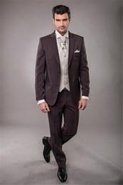 Plaid Brown Mens Suit Jacket Australia - Custom Made Fit Brown Groom Tuxedos Best Man Suit notch Lapel Groomsman Mens Wedding Bridegroom Costumes (Jacket + Pants + Vest)